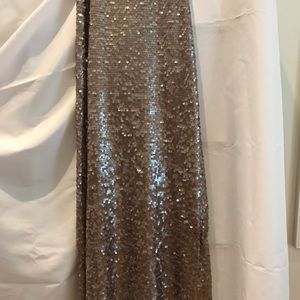 BCBG TAUPE SEQUINED MAXI SKIRT NWOT
